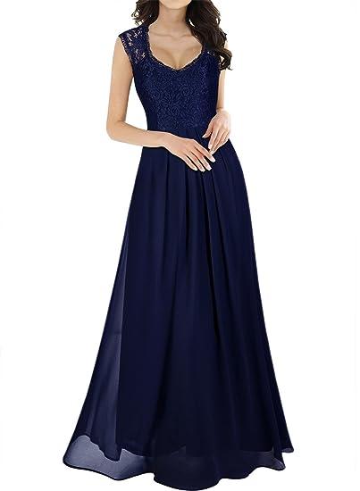 e17b28be23f Miusol Vintage Col V Dentelle Longue Robe de Soirée Femme  Amazon.fr   Vêtements et accessoires