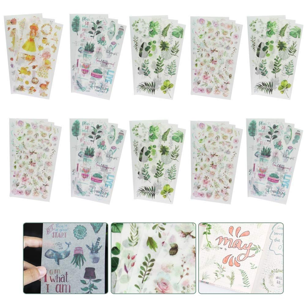 GOLRISEN Scrapbooking Stickers,Washi Paper Planner Sticker Decorative Adhesive Sticker Set with Cute Plant Pattern for Children Craft Scrapbook Album Calendars Planner DIY Bullet Journal(30sheets)