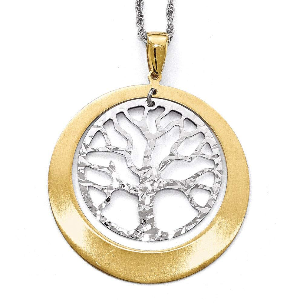 Lex /& Lu Leslies Sterling Silver and Gold-tone Textured Tree Pendant-Prime