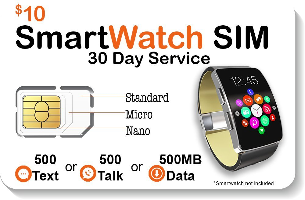 Smart Watch SIM Card for 2G 3G 4G LTE GSM Smartwatches and Wearables – 30 Day Service – USA Canada & Mexico Roaming