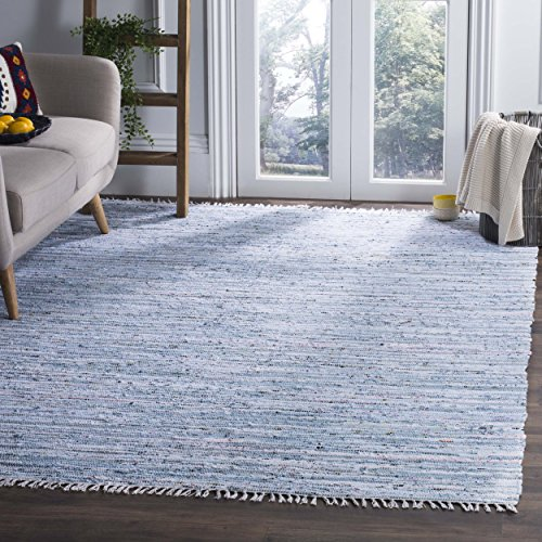 - Safavieh Rag Rug Collection RAR125A Hand Woven Light Blue and Multi Cotton Area Rug (4' x 6')