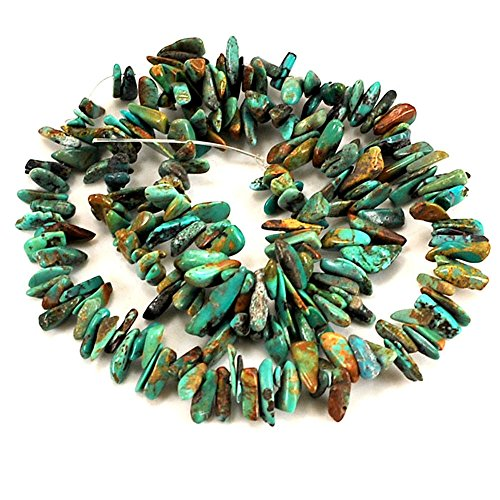 Green Turquoise Nugget Necklace - 01 Green Hubei Turquoise Chips 6-10mm for Necklace Gemstone Loose Beads 15