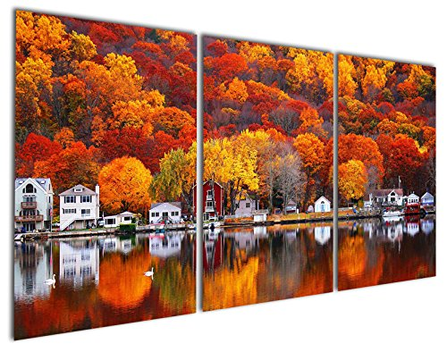 Gardenia Art - Rural with Gold and Red Maple by the lake...