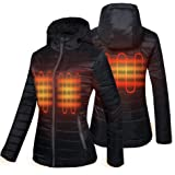 CONQUECO Women's Heated Jacket Slim Fit Light Weight Down Jacket for Waterproof and Windproof with Battery Pack in Winter