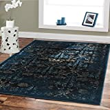 Premium Luxury Rugs Modern Floral Carpet Navy 5x8 Rugs Fashion Contemporary Rugs 5x7 Blue Beige Navy Brown Black Area Rug 5x7 Clearance 50 Office Rug Kitchen Rugs Prime Cheap Rug Sets
