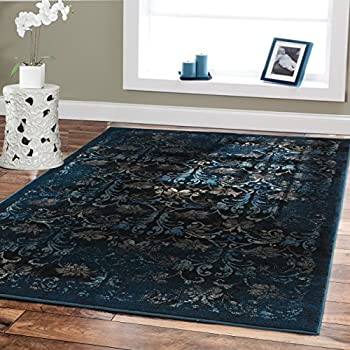 Premium Luxury Rugs Modern Floral Carpet Navy 5x8 Rugs Fashion Contemporary  Rugs 5x7 Blue Beige Navy