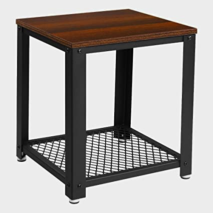 Ordinaire Cube End Table With Storage Shelf Wood And Meal Black And Walnut Color Side  Table Modern