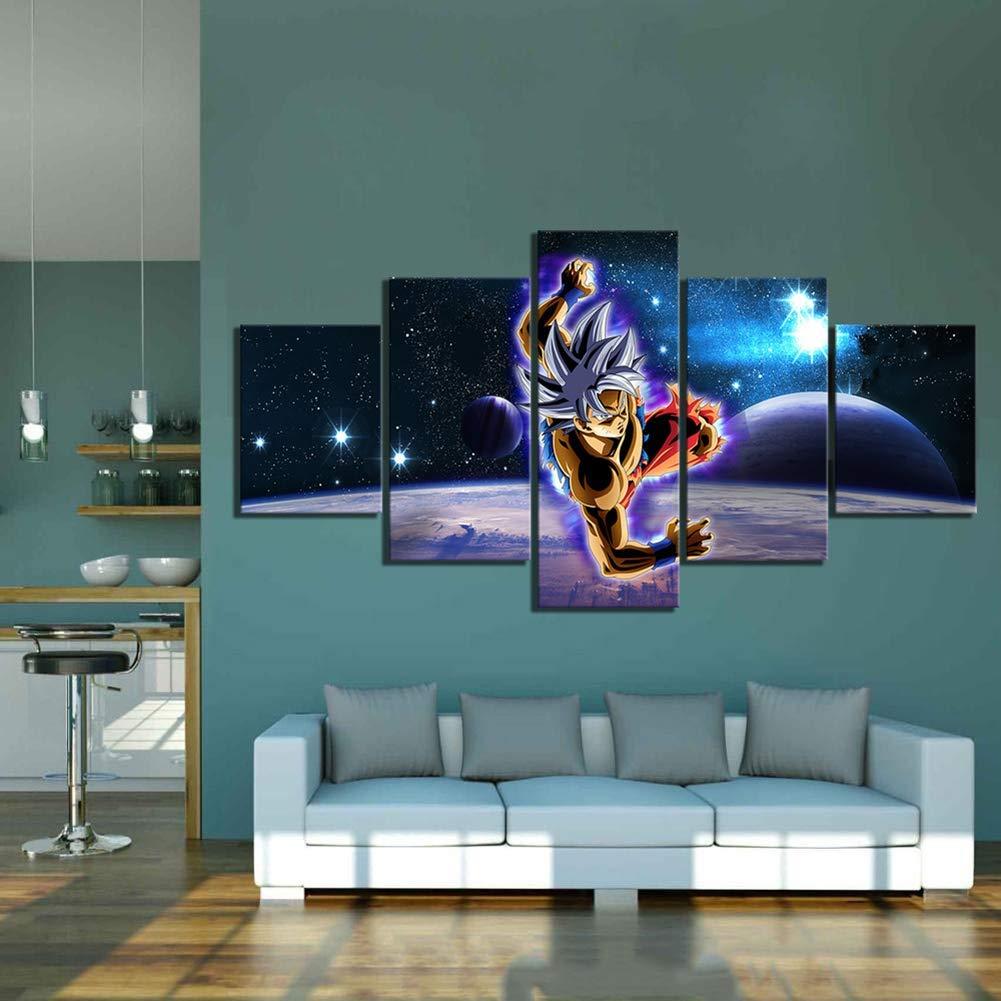FJLOVE 5 Piezas Lienzos Cuadros Pinturas Dibujos Animados Dragon Ball Super Instinct Goku Impresiones En Lienzo Decoraci/ón para El Arte De La Pared del Hogar,A,20x35cm*2+20x45*2+20x55*1