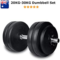 20KG - 30KG Dumbbells Set | Adjustable Weighted Dumb Bells Plates with Chrome Solid Handles Premium Quality Rubber Coated Steel Sport Equipment - Target Abdominal, Chest, Arms or Back Muscles Cardio or Rapid Weightloss. Great for Bench Press, Voodoo, Curl, For Home or Commercial Gym Workout by HCE