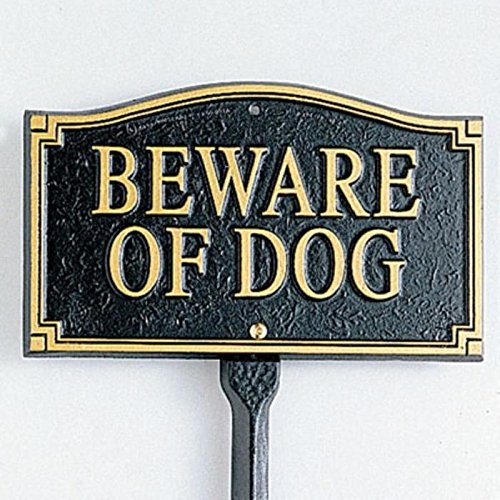Whitehall Products Beware of Dog Wall/Lawn Statement Marker, Black/Gold