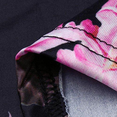 Stampato donna Shorts Jumpsuit floreale Pagliaccetto Pantaloncini Jumpsuit Nero Estivo Partito Corta da Scollo Elegante maniche Tuta Spiaggia Donna Senza feiXIANG Mini V A q16qrw