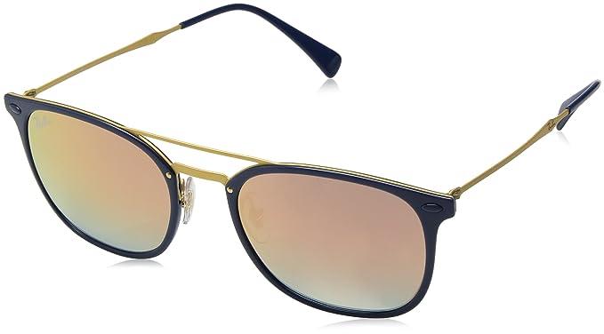 Ray-Ban 4286, Occhiali da Sole Uomo, Blu (Gold Pink Gradient Mirror), 55