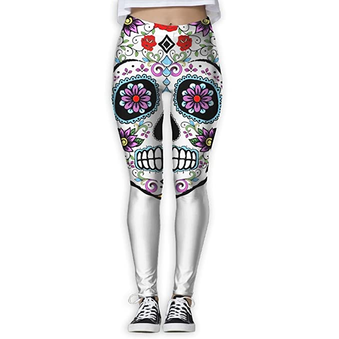 05845bf76d7d7 Mipu Shangmao colorful Sugar Skull Women's Yoga Trousers Color Print  Training Leggings at Amazon Women's Clothing store:
