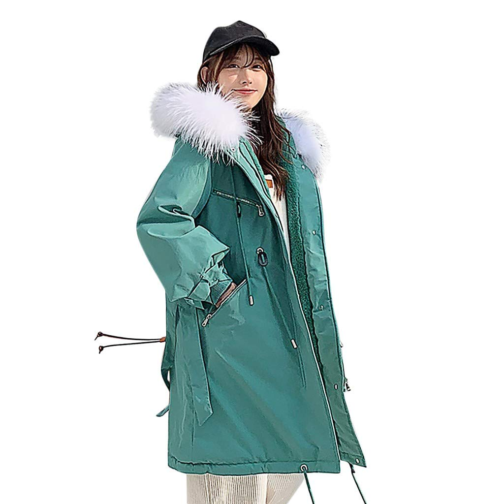 Fashionhe Hooded Overcoat Warm Outerwear Long Sleeve Hooded Jackets Cotton-Padded Pockets Bandage Coats(Green.L) by Fashionhe