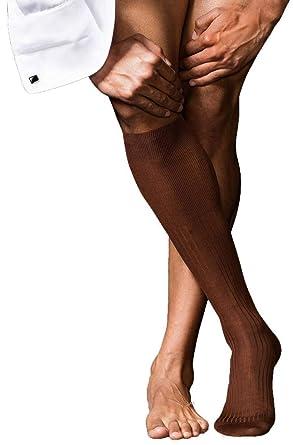037ae5e56 Falke Mens No10 Pure Fil d Ecosse Smooth Ribbed Knit Knee High Socks -  Acacia
