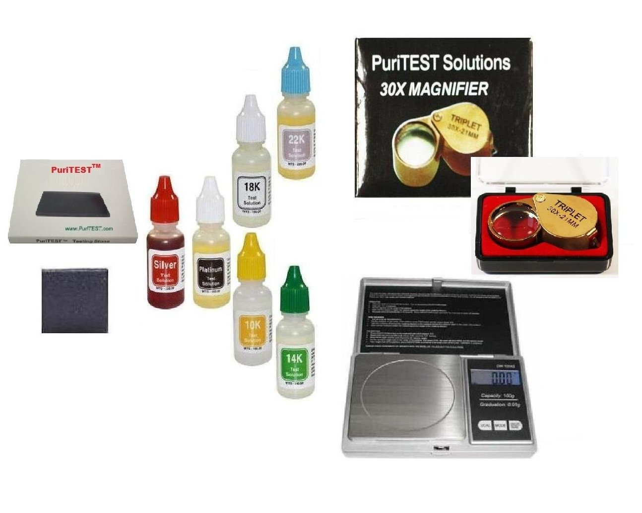 Jeweler's Full-Set Precious Metals Testing Kit Plus Jewelry Scale, Diamond Magnifyer and More! PuriTEST 4336835848