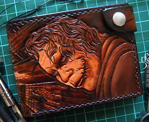 Men's 3D Genuine Leather Wallet, Hand-Carved, Hand-Painted, Leather Carving, Custom wallet, Personalized wallet, Joker, Batman, The Dark Knight, Heath Ledger by Theodoros