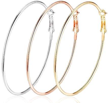 Amazon.com  Thank U 3 Pairs 60mm Big Hoop Earrings 86aa78cda8