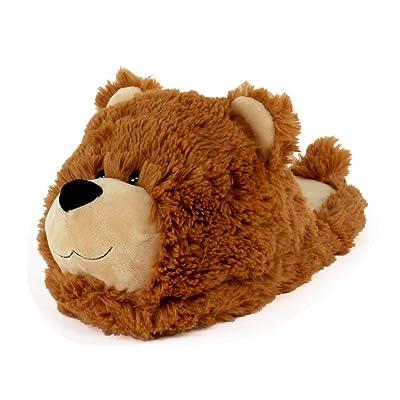 Amazon.com | AnimalSlippers.com Fuzzy Bear Slippers - Plush Teddy Animal Slippers Brown, 7-10.5 | Slippers
