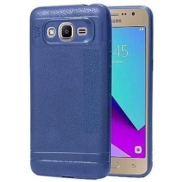 Ycloud Resilient TPU Funda para Samsung Galaxy J2 Prime Delgado Silicona Case Shock-Absorción Piel Textura Back Cover Azul Oscuro Carcasa para Samsung ...