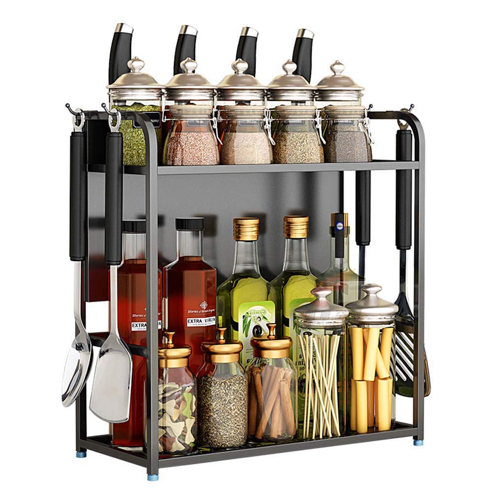 2-Storey Kitchen Counter Storage Rack for Seasoning Tank Storage, Can Be Used in The Bathroom 50×18×42Cm