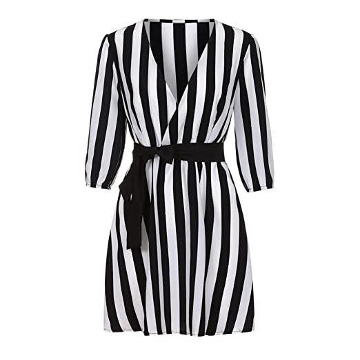 Mose Sexy Stripe Mini Dress Women V Neck Striped Dress Summer Black White  Striped Loose Beach 7d9d5c815