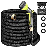 lifecolor Garden Hose 50ft, Expandable Water Hose Triple Latex Core 3/4 Solid Brass Fitting, 9 Function Spray Nozzle Flexible Expanding Hose Home, Car Garden Washing Pets Showering