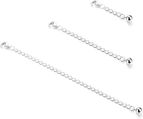 925 Sterling Silver Necklace Extenders Adjustable Extension Chain for Necklace Bracelet Anklet 2 pcs