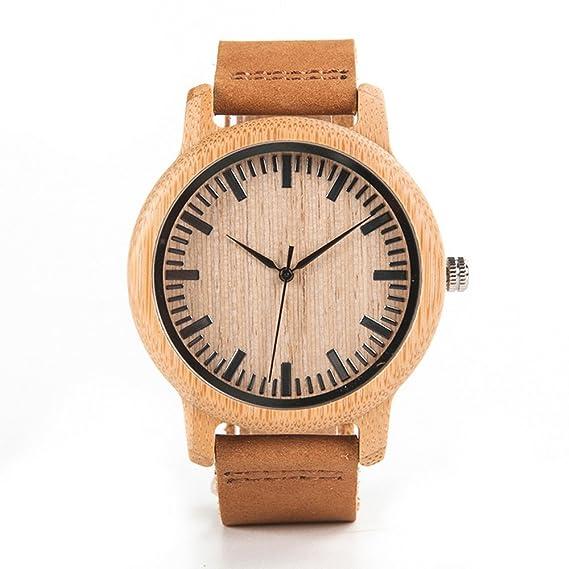 Reloj de pulsera de madera de bambú para hombre, reloj de cuarzo, correa de cuero, reloj de pulsera: Amazon.es: Relojes