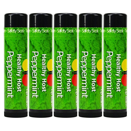Healthy Host Beeswax Lip Care with Shea Butter, Peppermint Essential Oil - 5 Pack -