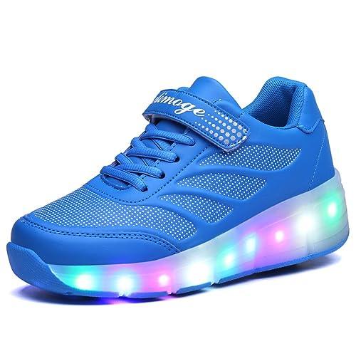 Zapatillas con Ruedas,Unisex Niños LED Luz Parpadea Deportes al Aire Libre Skateboard Sneaker Automáticamente Retráctiles Zapatos de Roller para Niño y ...