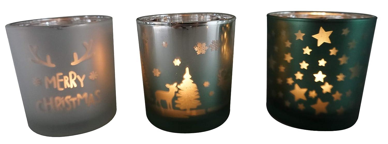 40 x 12 cm in Confezione Regalo MC Trend Set di 3 portalumini in Legno con portacandele in Vetro e Decorazioni in Vetro Portacandela Antivento Natalizio