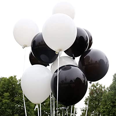 100 PCS 12 Inches Black Latex Balloons Large Thick Big Round Biodegradable Bulk Helium Gas or Air Inflated for Kids Birthday Graduation Wedding Party Halloween Christmas Decorations Supplies Favors: Health & Personal Care