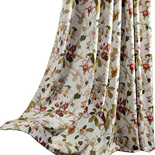 Flower curtains blackout bedroom drapes anady 2 panel - Long or short curtains in living room ...