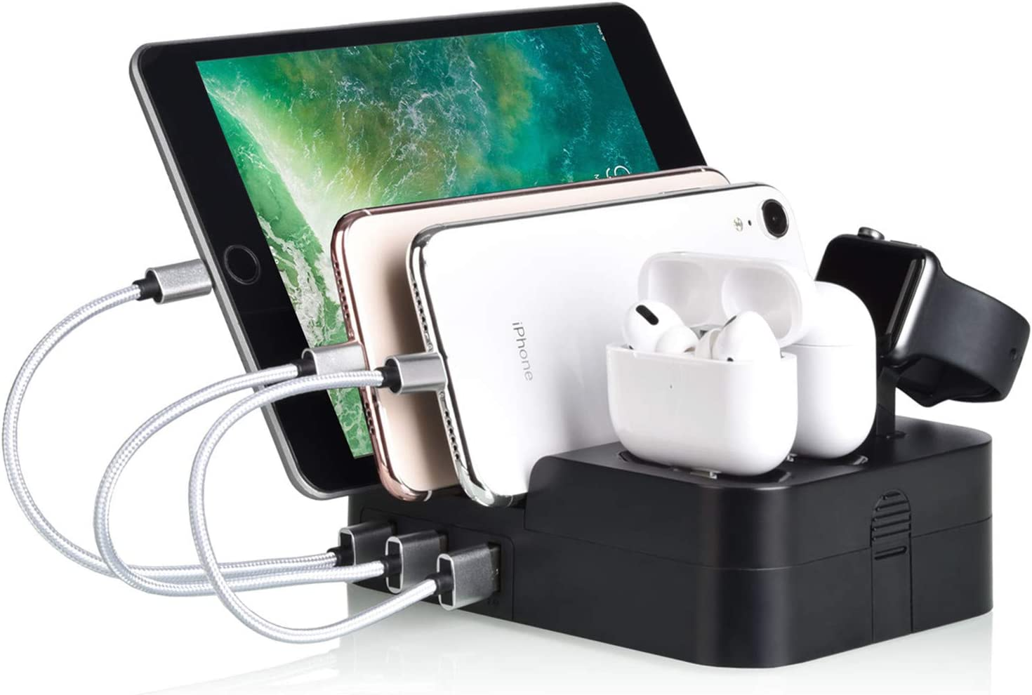 6 Port USB Charging Station Multi Device USB Charging Dock Station HUB Desktop Charger Stand Organizer Compatible for iPhone ipad Airpods iwatch Kindle Tablet Multiple Devices, Smart Cell Phones
