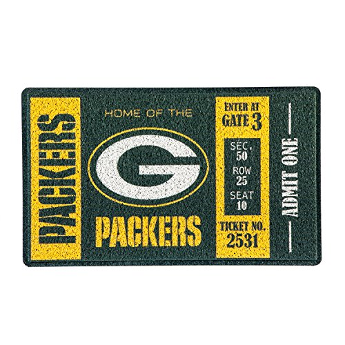 Team Sports America Green Bay Packers Recyclable PVC Vinyl Indoor/Outdoor Weather-Resistant Team Logo Door Turf Mat ()