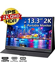 $169 » USB C Portable Monitor 2K - 13.3 Inch 2560x1440 IPS HDR FreeSync QHD 100% sRGB Ultra Light Computer Screen with Type-C Mini HDMI for Laptop PC Phone Mac Surface Xbox PS4 Switch, with Smart Case