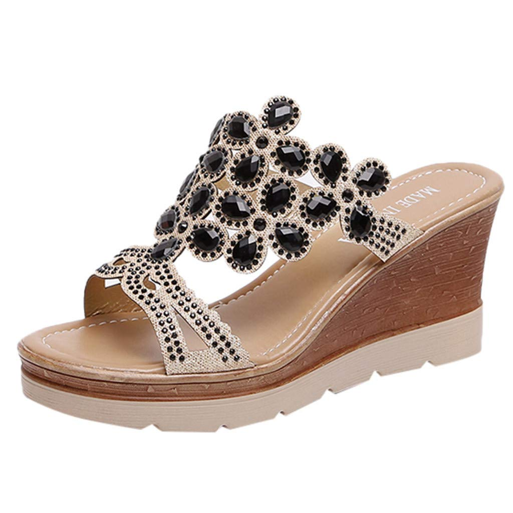 Auniemifly Women Rhinestone Peep Toe Wedges Slides Breathable Beach Sandals High Slope Slip-On Shoes Black by Aunimeifly