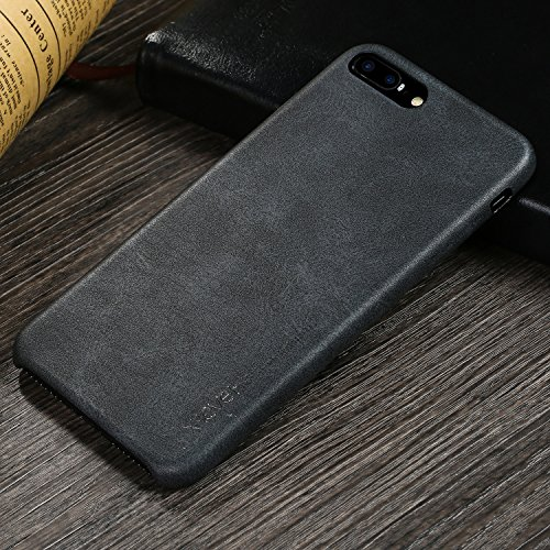 iPhone 7 Plus Case, iPhone 8 Plus Case, X-level Premium PU Leather Case [Vintage Series] Slim Fit Lightweight Soft Back Protective Cover for iPhone 7 Plus(2016) / iPhone 8 Plus(2017) 5.5'' (Black Leather Iphone Case)