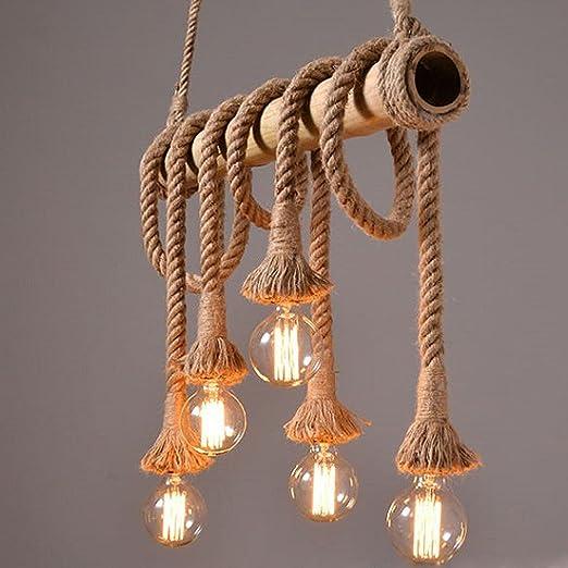 Araña Retro Hemp Cuerda Colgante industriales lámpara de techo lámpara vintage 5 focos Edison Light cáñamo cuerda y Bamboo colgante Leuchten lámpara ...
