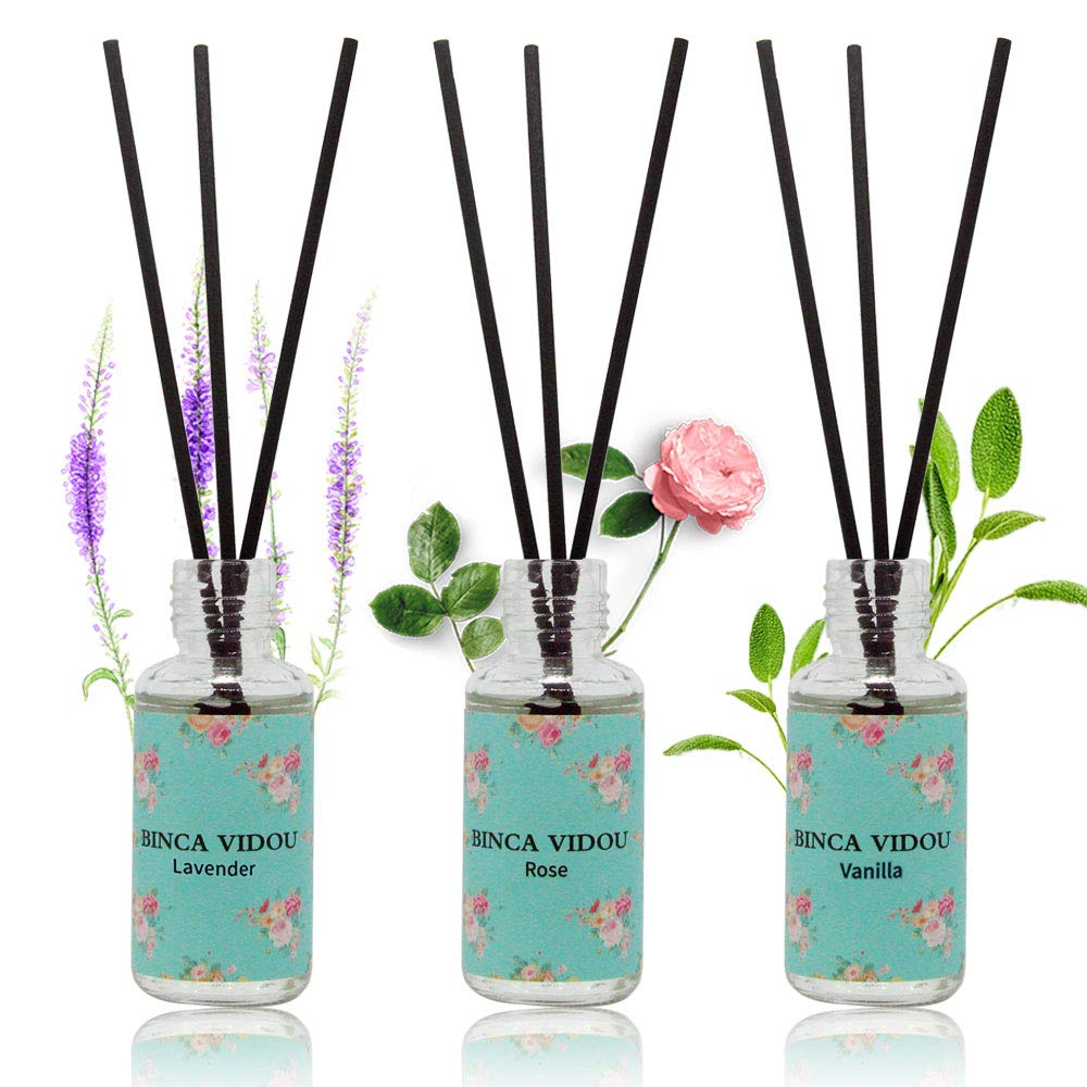 binca vidou Reed Diffuser Set of 3, Lavender Rose Vanilla Oil Reed Diffusers for Bedroom Living Room Office Aromatherapy Oil Reed Diffuser for Gift & Stress Relief 30ml x 3 by binca vidou