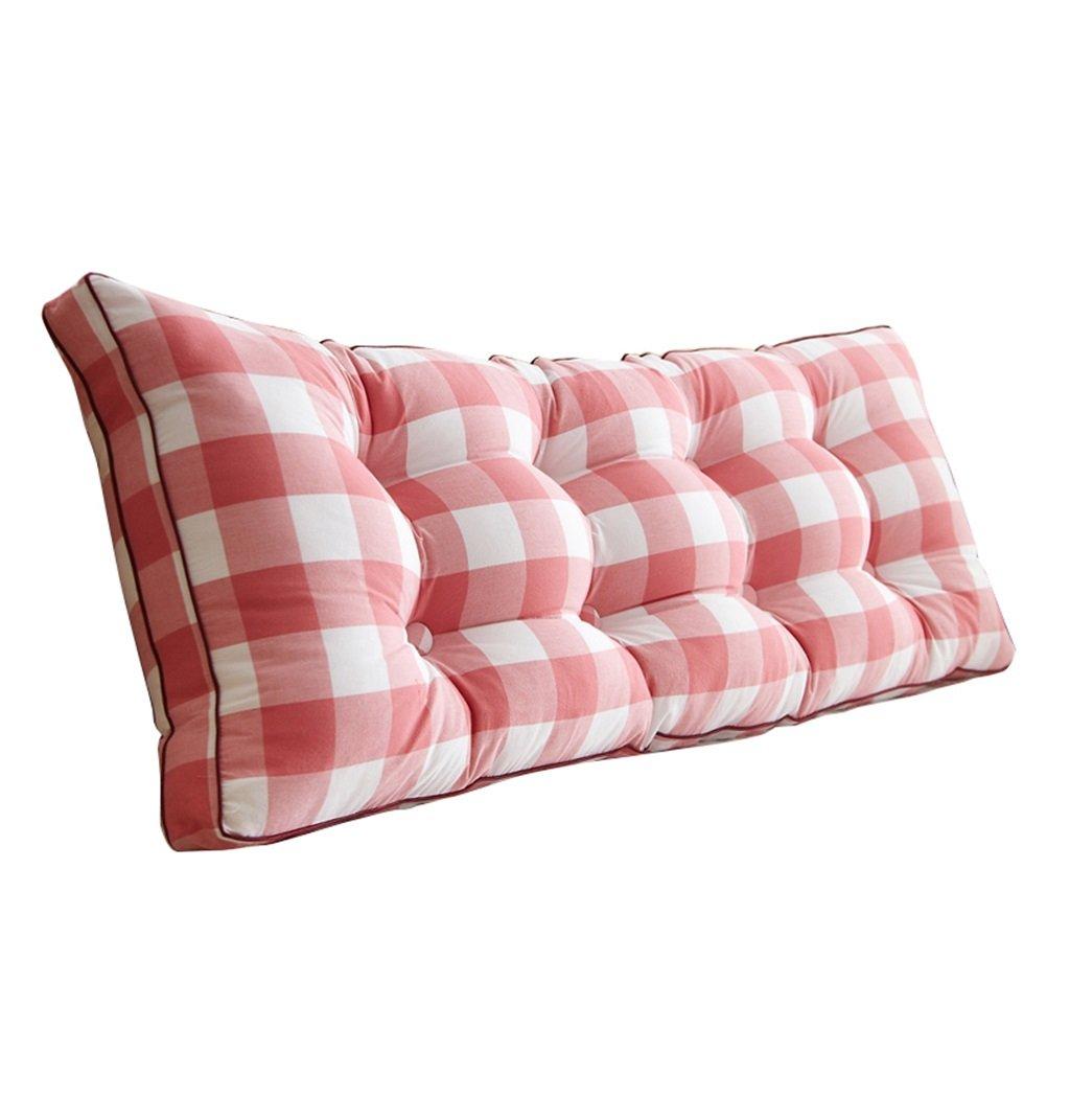 抱き枕 ウェッジトライアングルピローバックサポートクッションブック枕レディングピロー腰部クッションネックピローバックレストベッド(ピンクのチェック柄) (サイズ さいず : 180×20×50cm) B07FMM5M99  180×20×50cm