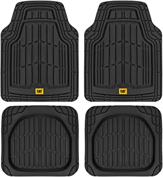 Amazon Com Cat Deep Dish Rubber Floor Mats All Weather For Car Truck Suv Van Total Protection Durable Trim To Fit Liners Heavy Duty Odorless Black Model Number Camt 1004 Bk Automotive
