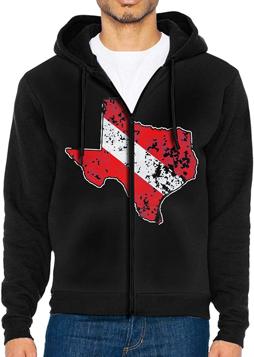 Vintage Texas Scuba Dive Flag Mens Zipper Fleece Hoodie Coat