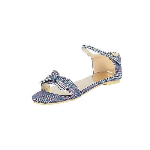 a895145ff84 Sandalias Mujer Sandalia con Pulsera para Mujer Un Gran Código para Las  Sandalias Femeninas de los Estudiantes de Fondo Plano de la Pajarita Zapatos  de ...