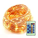 RaThun 66ft 200 LEDs String Lights Flexible Copper Wire Lights Waterproof Design Decor Rope Lights for Festival, Christmas, Wedding, Holiday and Party with Wireless Remote Control, Warm White