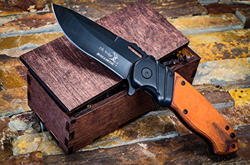 Hunting Knife Wooden Gift Box- Groomsmen or Boyfriend Pocket Knives, Groomsman Boxes, Husband Gift Set or Mens Wedding Gifts- Folding Blade Rustic Wood Handle Spring Assisted w/ Clip, Elk Ridge - Sunglasses Beer Das Boot