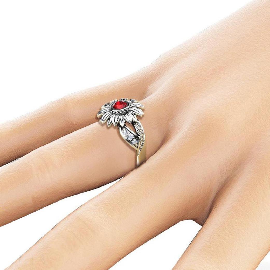 Ladies Floral Ring,Vanvler [ Round Diamond Ring ] Exquisite Sunflower Women Jewelry (6, Red Diamond)