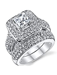 Metal Masters Co. 1 Carat Princess Cut Cubic Zirconia Sterling Silver 925 Wedding Engagement Ring Band Set