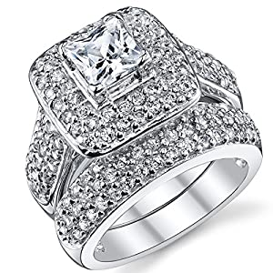 1 Carat Princess Cut Cubic Zirconia Sterling Silver 925 Wedding Engagement Ring Band Set